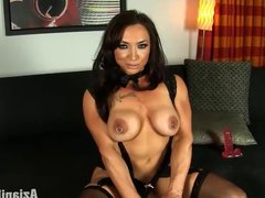 Female bodybuilder in hot lace lingerie with her big clit