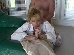 Racquel Devonshire sucks a dildo while taking it from behind