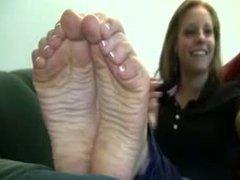 Cute blonde modeling her feet