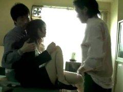 Miss Lady Professor (Threesome erotic scene) MFM