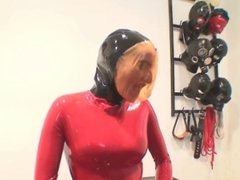 Latex breathplay masturbation
