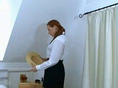 British Redhead School Girl In Stockings