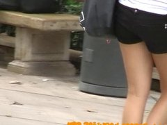 Sweet teen in sweet shorts filmed by candid cam