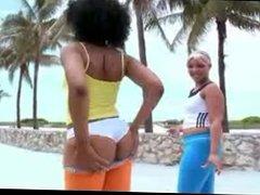 Black babes ass tease at beach