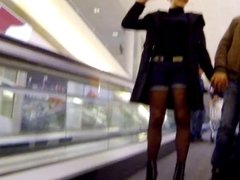 Candid - MILF In Hot Pants Stockings And High Heels