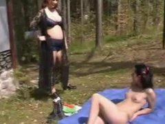 Old pregnant couple seduce teen in woods