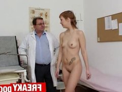 Sporty redhead Electra Angel checked by aged cunt doctor