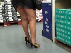 wife shopping Black Leather Mini Skirt, Leopard Heels