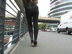 woman in very high boots
