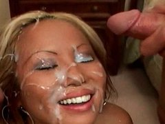Hot Asian Gets Face Covered in Cum