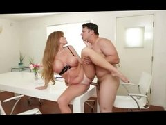 auburn hair mature babe get fucked on a desk