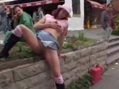 Slut Nude and Wanking at Public Bustop OMFG!