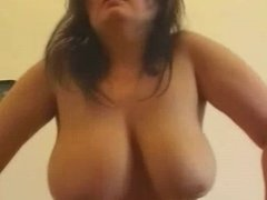 Fat Chubby GF with nice tits and shaven Pussy riding cock-P2