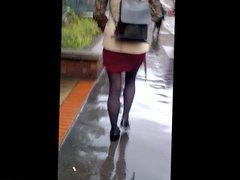 Candid Sexy legs hottie in Miniskirt