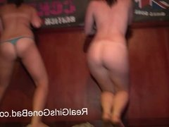 FOUR SEXY GIRLS STRIP NAKED ON STAGE FOR A SPRING BREAK