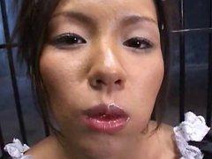 Japanese girl eats cum and strawbarries