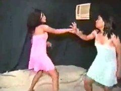 Asian girls battle it out in nighties