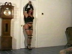 Ariele Cole Tied Up & Ball Gagged In Black Latex Lingerie