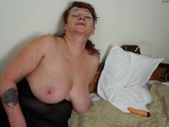 Grandmother with big boobs and big toy