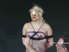 Blindfolded blonde babes tit torture and whipping in harsh