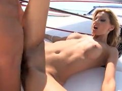 Sexy blonde fucked on boat