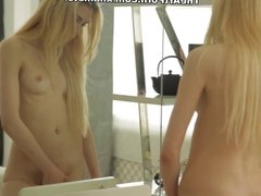 Sweet blonde Erica oils body and reaches orgasm by vibrator