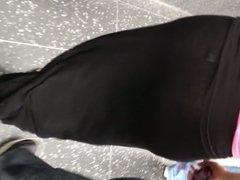 Fat ass Mexican in see thru black skirt
