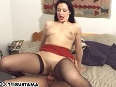 Busty French amateur girlfriend gets anal with facial