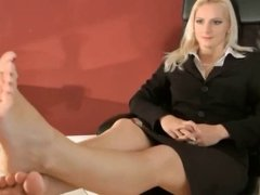 Foot worship to blonde mistress