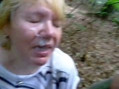 cumming on a granny face in the forest
