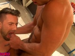 Muscled british doctor stud butt nailing patient