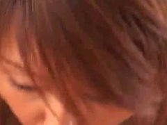 Cute Japanese chick gets a mouthful