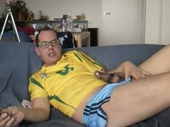 Estim and sounding in a Brasil 10 shirt.
