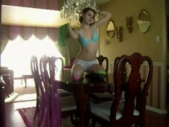 Girl masturbates on table