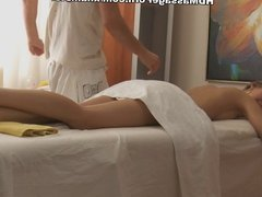 Foxy lady is masturbated and fucked during the massage
