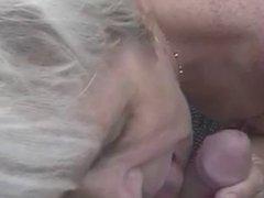 Blonde granny butt banged outside