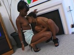 Two Gorgeous Black Babes Play With Dildos