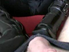 Footjob boots and socks