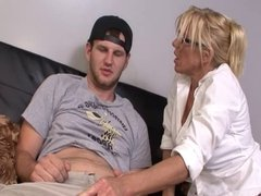 COCK CRAZED MILF STROKES BOSS'S SON!