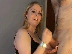 Amateur Chubby Blonde gives Handjob