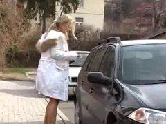 Blonde secretary Mia gets cum on her face