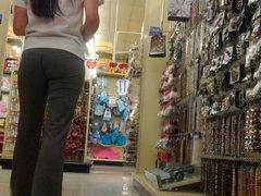 teen in tights at Hobby Lobby