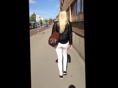 Public Ass Grabbing on a very hot Blonde
