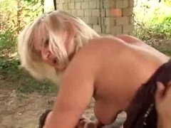 blonde milf anal fuck outdoor on tyres pile