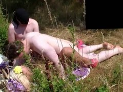 Crowd of Horny Cocks Fuck a German Whore in the Outdoor