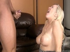 Sexy Blonde With Big Tits Cumblasted