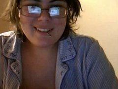 Nerdy Teen With Big Tits Showing Off And Shower on Webecam
