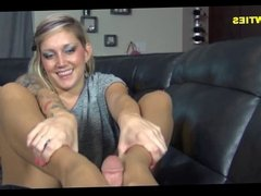 Sexual nylon footjob