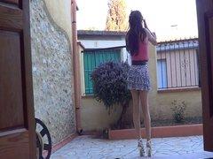 skirt & white heels