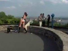 dirty slut flashing in a public park